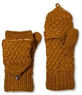 Women's Hand Knit Wool Fliptop Mittens with Fleece Lining