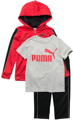 Puma Tech Fleece Zip Front Hoodie, Logo T-Shirt & Pants Set