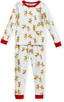 BedHead Jersey Reindeer Pajama Set, Aqua/Fuchsia, Size 2T-8