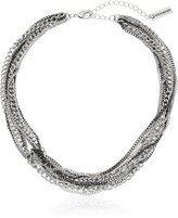 """Steve Madden 2 Tone Multi Row Knotted Necklace, 16"""" + 3"""" Extender"""