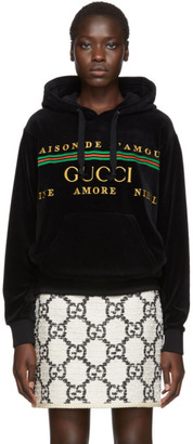 Gucci Black Chenille Logo Hoodie
