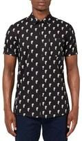 Topman Trim Fit Palm Print Short Sleeve Woven Shirt