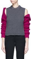 Calvin Klein Cold shoulder colourblock mixed rib knit sweater