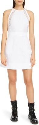 Chloé Lace Inset Linen & Cotton Minidress