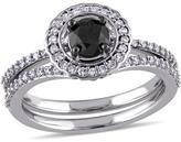 Julie Leah 1 CT TW Black and White Diamond 14K White Gold 2-Piece Halo Bridal Set