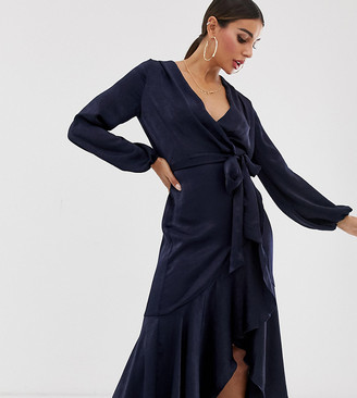 Flounce London wrap front midi dress in navy