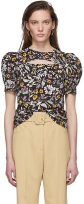 Les Rêveries Black Floral Cut-Out T-Shirt