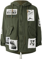 As65 - patch detail military jacket - men - Cotton/Leather/Nylon/Viscose - XS