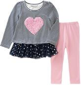 Kids Headquarters Gray Heart Tunic & Pink Leggings - Infant, Toddler & Girls