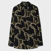 Paul Smith Women's Black And Khaki 'Chain-Link Heart' Print Silk Shirt
