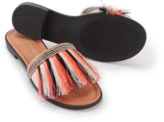 Pretty You London Fringe Sandal In Orange Multi
