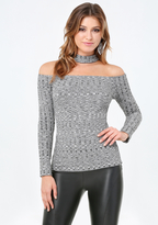 Bebe Collared Off Shoulder Top