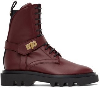 Givenchy Burgundy Eden Rangers Boots