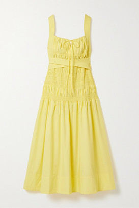 Self-Portrait Belted Shirred Cotton-poplin Midi Dress - Yellow