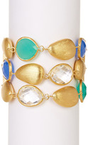 Rivka Friedman 18K Gold Clad 3 Row Faceted Multi Crystal & Satin Pebble Toggle Bracelet
