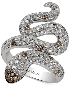 LeVian Le Vian Red Carpet Chocolatier Diamond Snake Ring (1-7/8 ct. t.w.) in 14k White Gold
