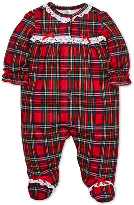 Little Me Baby Girls Plaid Footed Coverall