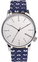 Komono Unisex KOM-W2152 Winston Print Series Silver-Tone Watch with Tennis Racket-Patterned Band