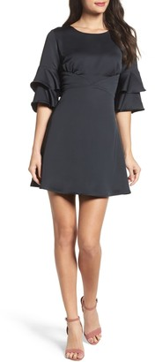 19 Cooper Ruffle Sleeve Satin Dress