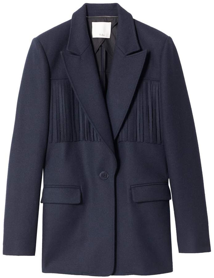 Tibi Cut Out Concept Fringe Blazer in Navy