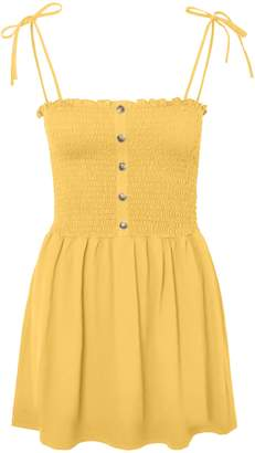 Vero Moda Maria Smocked Cotton Mini Dress