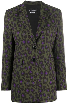 Boutique Moschino Leopard Print Fitted Blazer