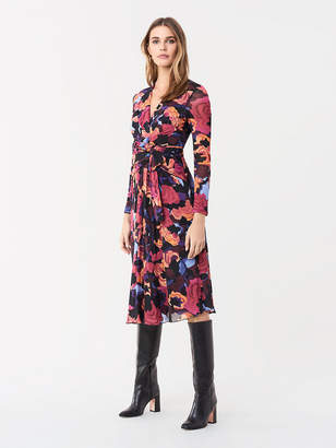Diane von Furstenberg Brenda Mesh Midi Faux-Wrap Dress