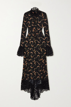 Paco Rabanne Asymmetric Lace-trimmed Floral-print Stretch-jersey Maxi Dress - Black