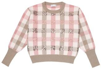 BRUNELLO CUCINELLI KIDS Sequined virgin wool, cashmere and silk sweater
