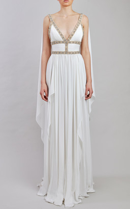 Elie Saab Silk Chiffon Draped Gown