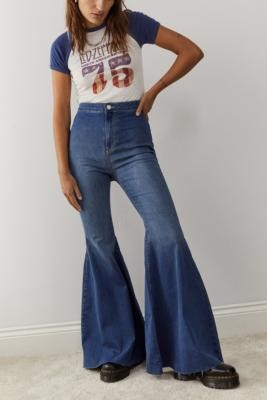 Free People Just Float On Light Blue Flare Jeans - Blue 27 at Urban Outfitters