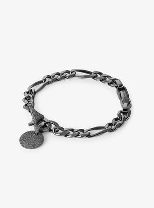 Michael Kors Black Rhodium-Plated Sterling Silver Pave Disk Bracelet