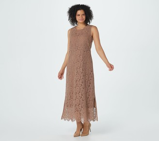 Isaac Mizrahi Live! Sleeveless Knit Lace Maxi Dress