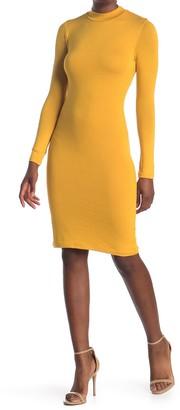 Velvet Torch Mock Neck Long Sleeve Midi Dress