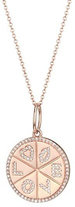Nina Gilin 14K Rose Gold & Diamond Love Medallion Necklace