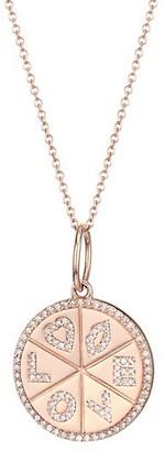 Nina Gilin 14K Rose Gold Diamond Love Medallion Necklace