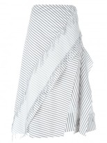 Cédric Charlier frayed striped skirt