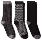 Merona Women's Crew Socks 3-Pack Black Mixed Textures One Size