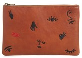 Madewell The Leather Pouch Clutch: Embroidered Icon Edition - Brown