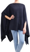 DELUXSEY Womens Mix Knit Pullover Poncho with Arm Slits (Navy, L - XL) 1252