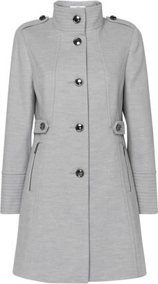 Wallis PETITE Grey Funnel Neck Coat