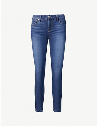 Paige Ladies Blue Leather Verdugo Skinny Mid-Rise Jeans, Size: 23