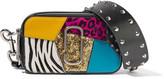 Marc Jacobs Snapshot Punk Calf Hair-trimmed Embellished Textured-leather Shoulder Bag - Black