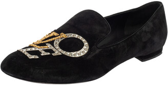 Louis Vuitton Black Suede Love Slip On Loafers Size 39