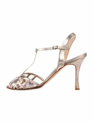 Manolo Blahnik Perle Leather T-Strap Sandals Gold