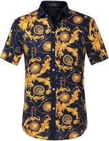 SSLR Men's Short Sleeve Vintage Button-down Shirt (, Black Yellow)