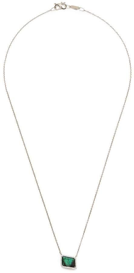 Monique Péan 'Atelier' emerald 18k white gold pendant necklace