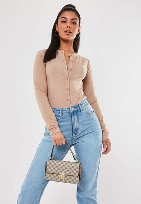 Missguided Sand Button Front Long Sleeve Crop Top
