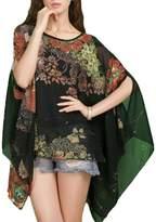 Rokou Women's Loose Batwing Dolman Sleeve Chiffon Shirt Pullover Blouse Top