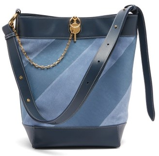 J.W.Anderson Keyts Striped Leather & Suede Tote - Womens - Blue Multi